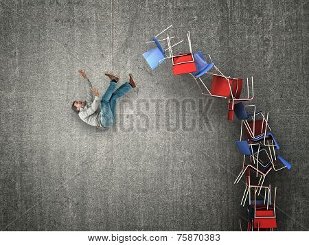 man fall from chair pile