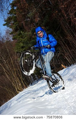Bicyclist extreme riding on mountain bike in winter forest poster