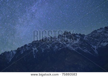 beautiful Natural rocks and stars at night in the mountains. Northern Pakistan.