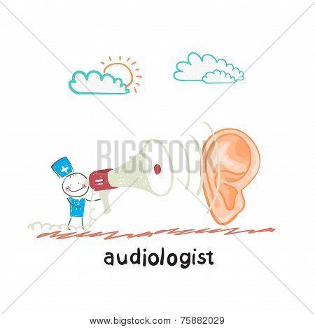 otolaryngologist yells into a megaphone on a large ear