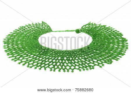 Green Traditional Beaded Neckwear, African, Isolated on White Background