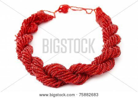 Red Multistrand Twisted Beaded Neckwear, Traditionally African, Isolated on White Background