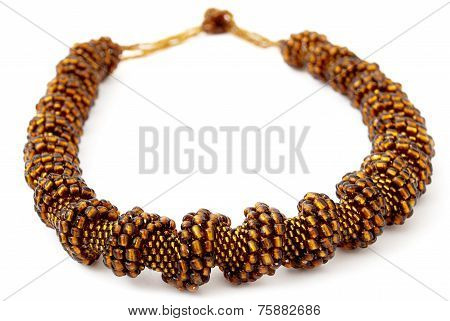 Brown Spiralling Beaded Neckwear, Traditionally African, Isolated on White Background
