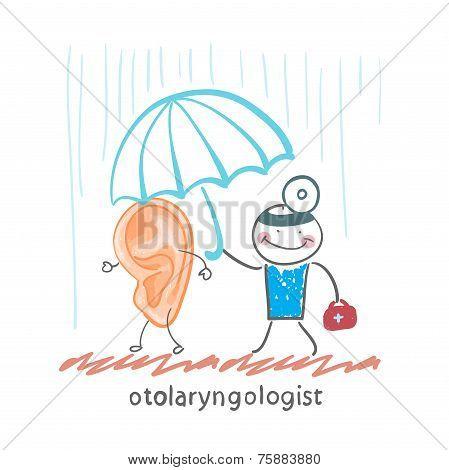 otolaryngologist  holding an umbrella over the patient