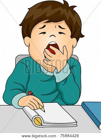 Illustration Featuring a Boy Letting Out a Big Yawn While Studying