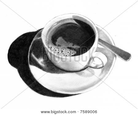 Pencil Drawing of Cup of Coffee