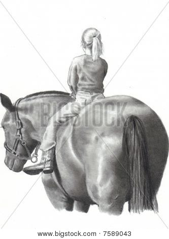 Pencil Drawing of Girl on Horse