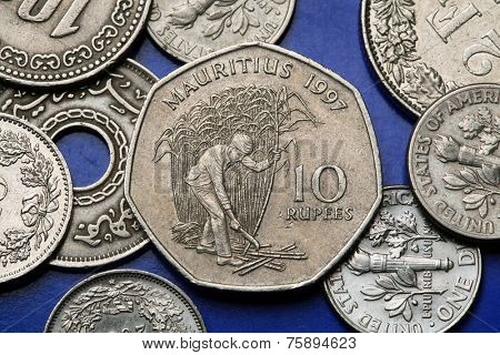 Coins of Mauritius. Mauritian peasant cutting sugar cane in a field depicted in the Mauritian ten rupee coin.