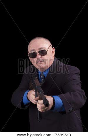 Gangster Or Government Agent, Fbi Agent, Over A Black Background