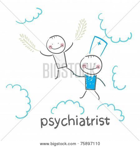 psychiatrist with patient flies in the sky
