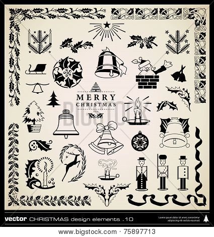 Christmas Decoration Collection Vector.