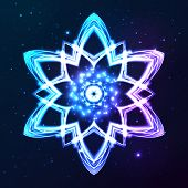 Blue vector shining cosmic abstract snowflake on dark background poster