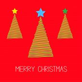 Three fir Christmas tree set with star. Scribble effect Merry Christmas card Flat design Vector illustration poster