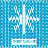 Knitted sweater vector pattern with word snowflake. Merry Christmas card. Illustration. poster