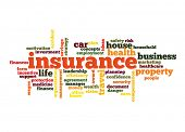 Insurance Word Cloud Concept in red  with great terms such as auto, house, travel and more poster