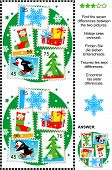 Christmas or New Year themed picture puzzle: Find the seven differences between the two pictures (plus same task text in Russian, German, French and Spanish) of postage stamps - snowflake, presents, gift sock, skating penguin, fir tree. Answer included. poster