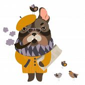 Vector serious grandpa dog with a newspaper and smoking pipe poster