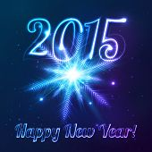 Year 2015 vector symbol with shining cosmic snowflake poster