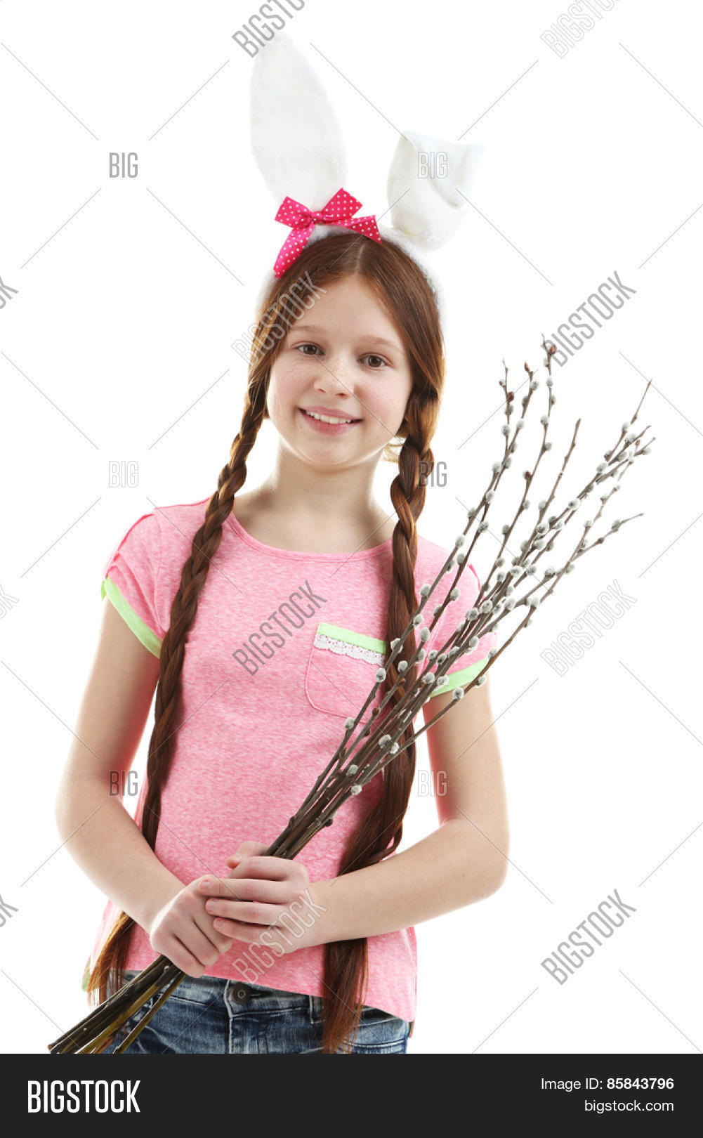 beautiful little girl pussy-willow image & photo | bigstock