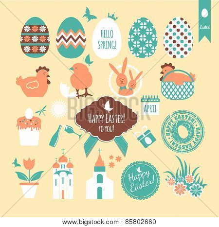 Easter set of icons