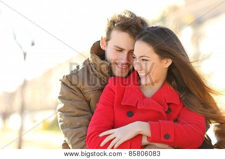 Couple Dating And Hugging In Love In A Park