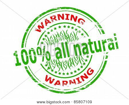 Stamp with text one hundred percent all natural inside vector illustration poster