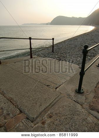 Beach Slipway And Sunset Seascape