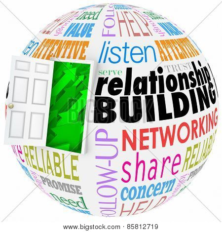 Relationship Building words on a ball or sphere to illustrate networking and meeting new people in job, career, life or organizations