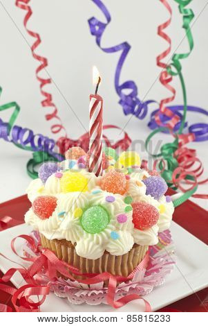Party Cupcake With Lit Candle
