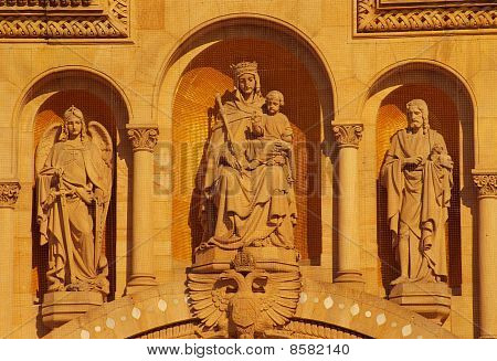 Speyer Cathedral, main front facade statues, Germany poster