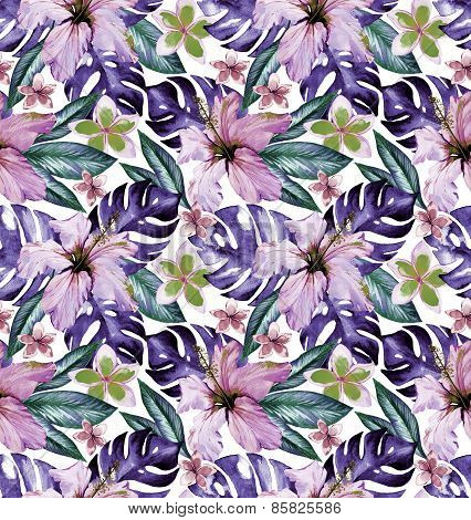 Muted And Faded Floral Pattern: Hibiscus, Frangipani, Palm, Monstera, Floral Garden