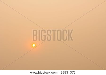 Sun And Orange Sky With A Lot Of Smoke Caused By Burning Forest, Thailand