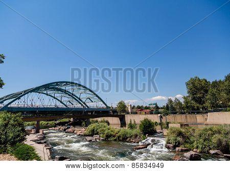 Platte River Under Bridge In Denver