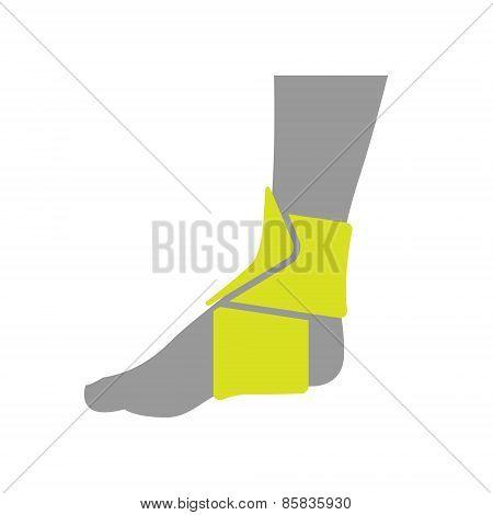 Icon of Elastic Orthopedic Compression Bandage for Ankle Isolated on White Background.