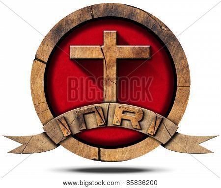 Inri - Wooden Icon With Cross