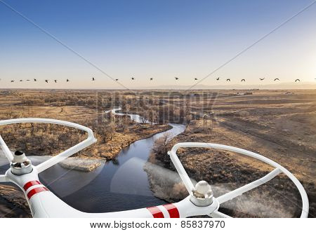 A small quadcopter drone flying over river landscape with Canadian geese, focus on drone motors and propellers.
