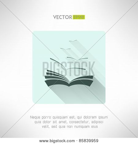 Book icon with seagulls made in modern flat design. Learning and library concept. Vector illustratio