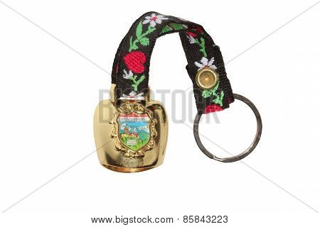 Decorative bell with Vaduz castle isolated