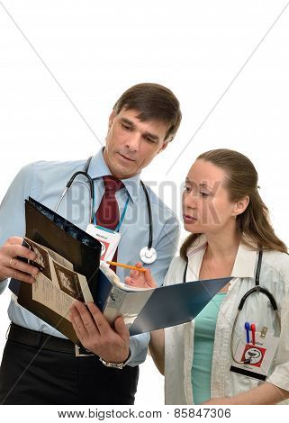 Doctors woman and man working together
