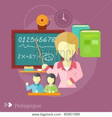 Pretty teacher with a pointer