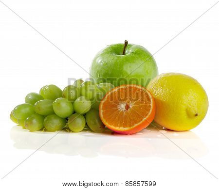 Apple, orange, lemon, grape, on a white background