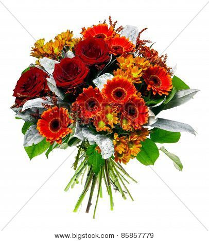 Beautiful bouquet of gerberas and roses