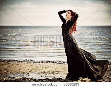 Beautiful Goth Girl Standing On Sea Beach