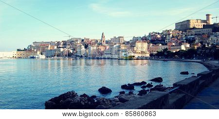 View On The Angevin-aragonese Castle On The Hill And Buildings Of Gaeta City.