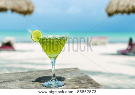 Fresh Margarita Cocktail On A Table At Tropical Exotic Caribbean Beach