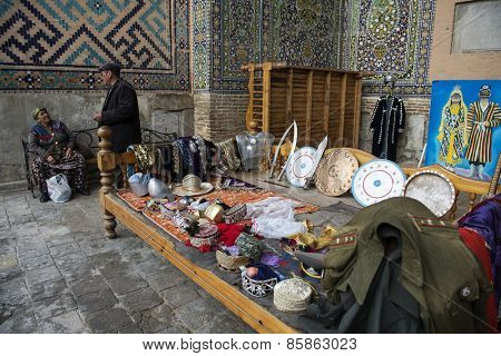 SAMARKAND, UZBEKISTAN - MARCH 14, 2015: Souvenir shop in Sherdor Madrasah (built in 1619-1636). It is one of the foremost interesting place in Central Asia