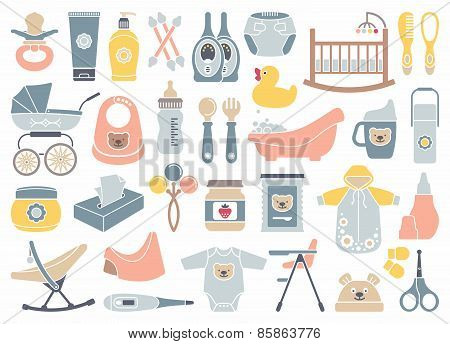Icons of products for newborns