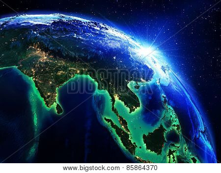 land area in India, China and Indonesia, the night