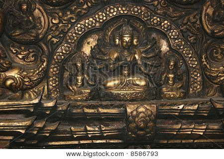 Bronze ancient sculpture in Katmandu Buddhist temple poster