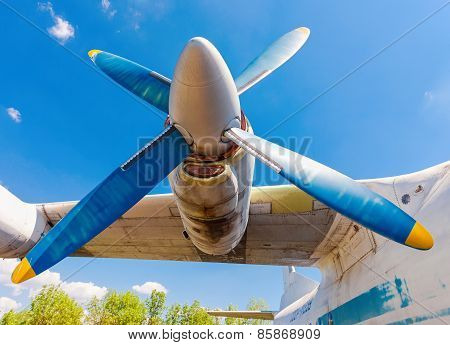 Turbines Of Turboprop Aircraft An-12 At An Abandoned Aerodrome